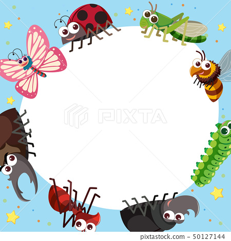 Border template with different types of bugs 50127144