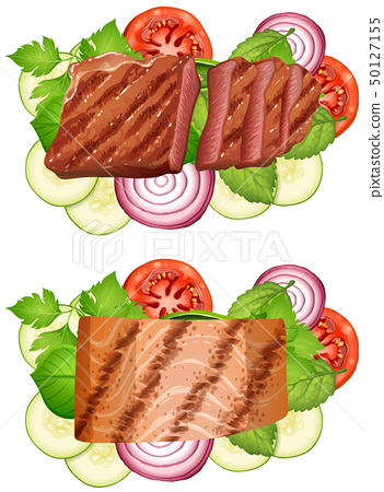 Beef steak and salmon steak with vegetables 50127155