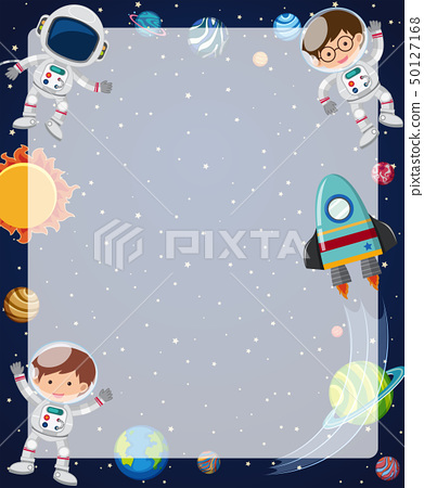 Border template with astronauts flying in sky 50127168