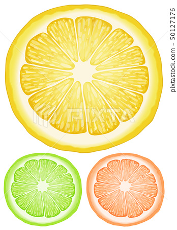 Three slices of lemon in different colors 50127176