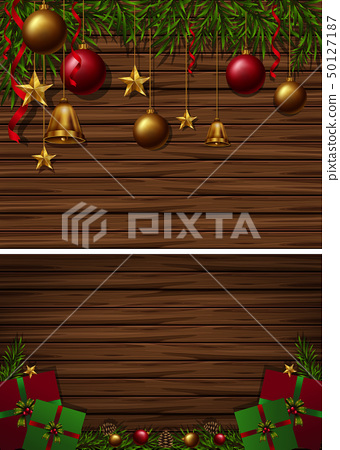 Two wooden board background with christmas 50127187