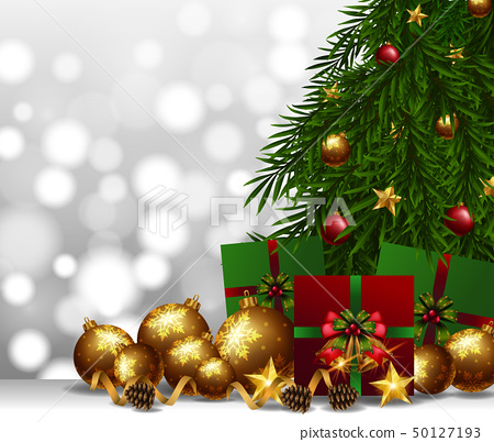 Background with golden ball and christmas presents 50127193