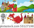 Different fairytale scenes with knight and dragon 50127198