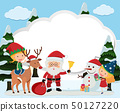 Border template with santa and kids 50127220