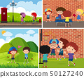 Four scenes of children playing different sports 50127240