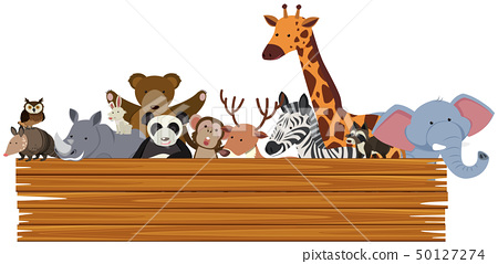 Wooden sign with cute animals in the back 50127274