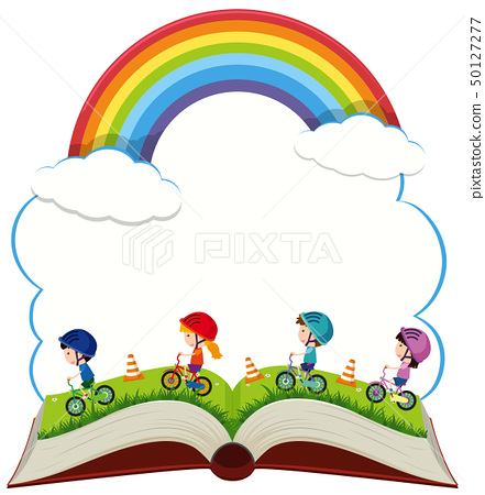 Book with children riding bike in the park 50127277