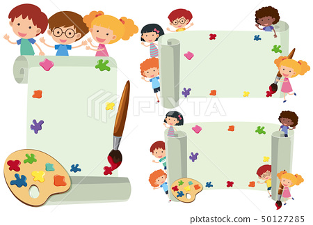 Three paper template with happy kids 50127285