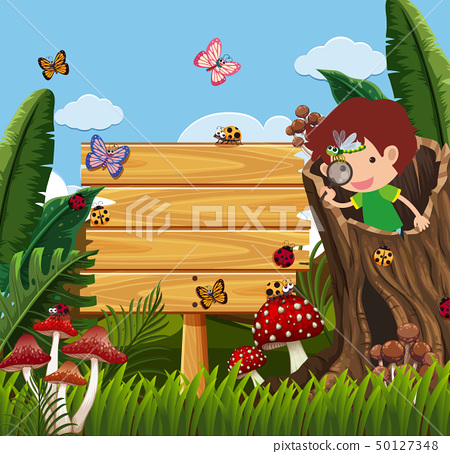 Wooden sign and boy looking at bugs in garden 50127348