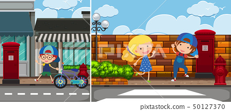 Two road scenes with kids 50127370