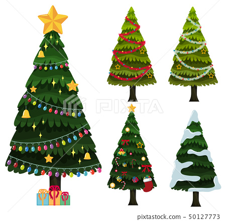 Five christmas trees with ornaments 50127773