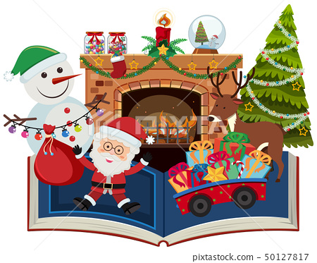 Book of christmas with santa and present 50127817