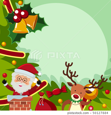 Border template with santa and reindeer 50127884