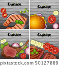 Different types of menu on gray background 50127889
