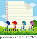 Paper template with kids cycling in the park 50127925