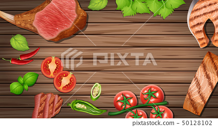 Wooden board with different food ingredients 50128102