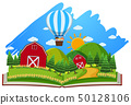 Farm scene with barns and balloon in the book 50128106