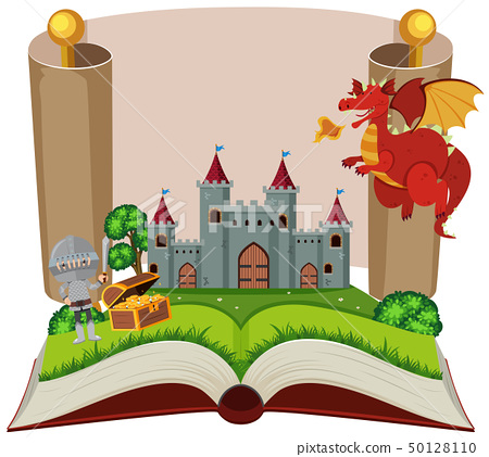 Storybook with knight and castle 50128110