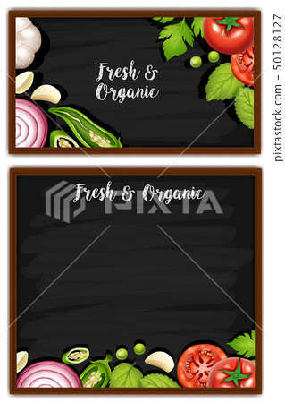Two menu boards with fresh ingredients 50128127