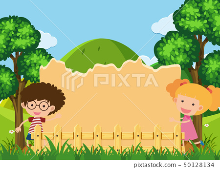 Border template with boy and girl in park 50128134