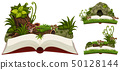 Three books of nature with cave and plants 50128144