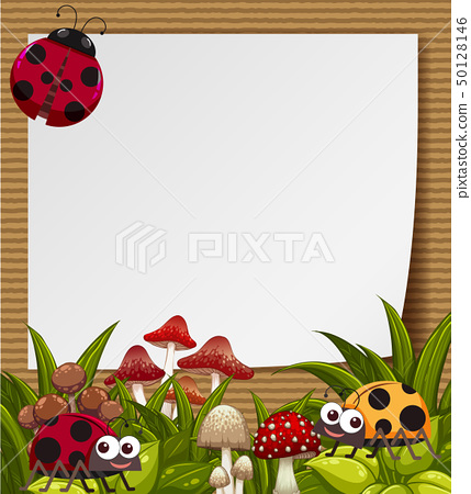 Border template with cute ladybugs in garden 50128146
