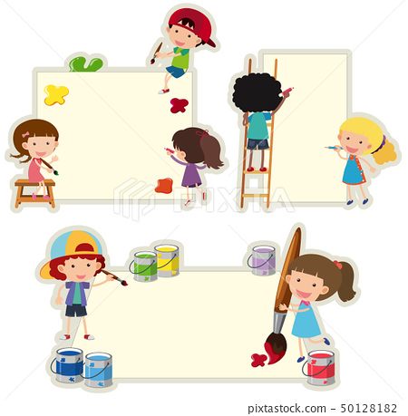 Paper template with kids painting on paper 50128182