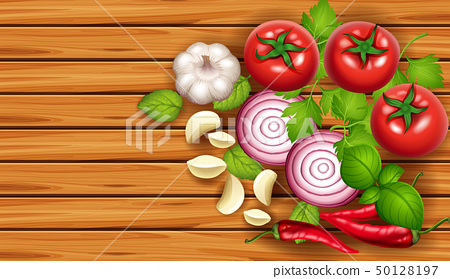 Background template with fresh vegetables 50128197