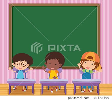 Chalkboard in kindergarten classroom 50128199