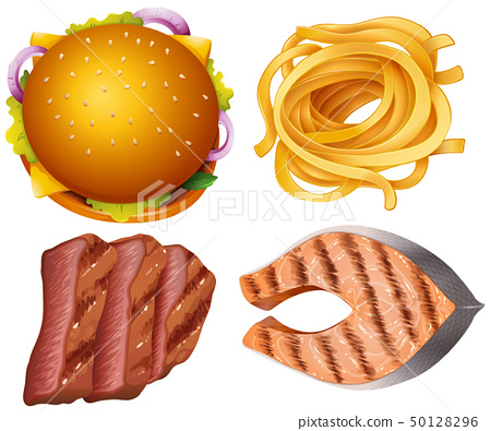 Different types of food on white background 50128296
