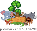 Wooden sign with many animals around it 50128299