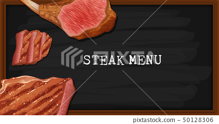 Steak menu on black board 50128306