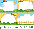 Four background template with sun and blue sky 50128308