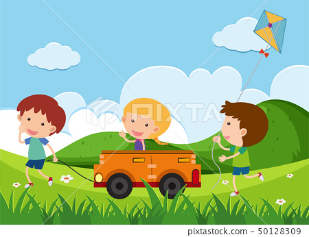 Happy children playing toy car in the park 50128309