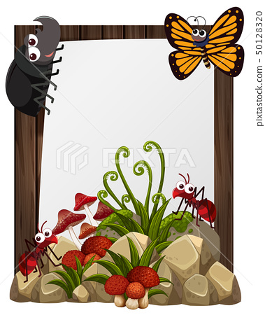 Paper template with insects in garden 50128320