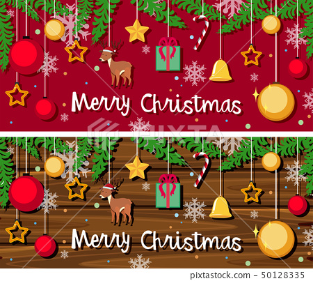 Christmas card template with many ornaments 50128335