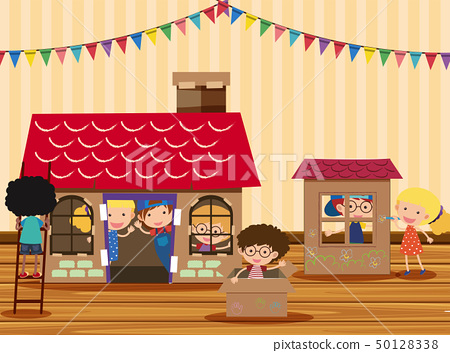 Happy children playing in playhouse 50128338