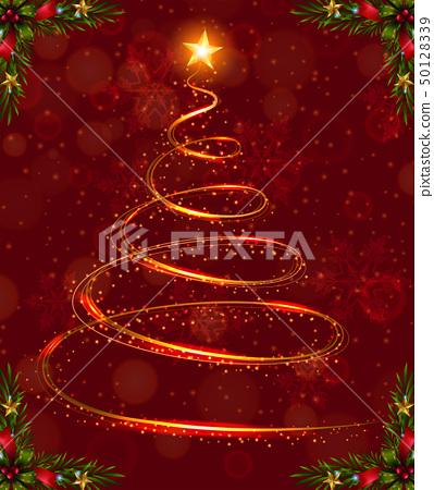 Christmas card template with christmas tree light 50128339