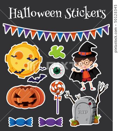 Halloween stickers set with jack-o-lantern 50128345