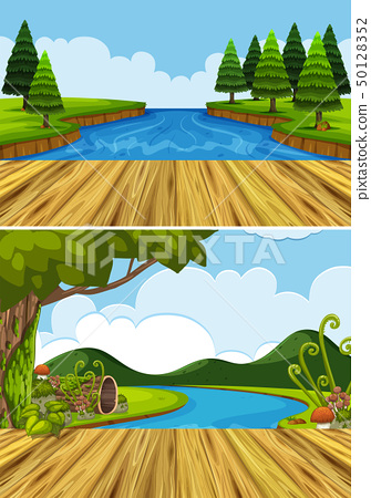 Two background scenes with river and trees 50128352