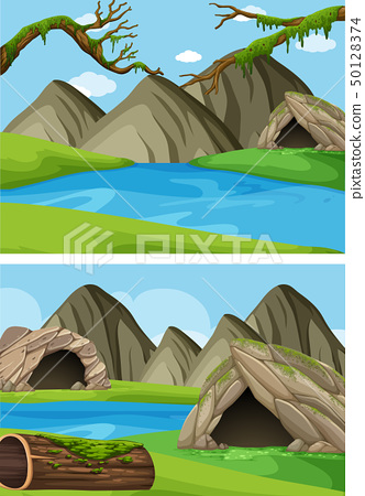 Two background scenes with mountains and rivers 50128374