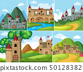 Scenes with castle towers in the mountains 50128382