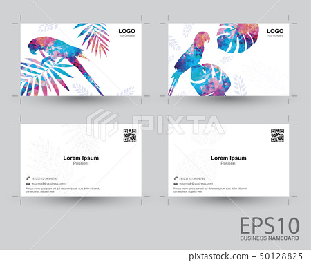 Colorful Macaw bird and tropical leaf namecard 50128825