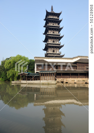 Chinese pagoda in Wuzhen town 50128908