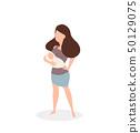 woman holding a newborn baby 50129075