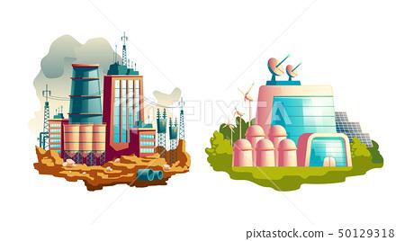 Modern and future power plants cartoon vector 50129318