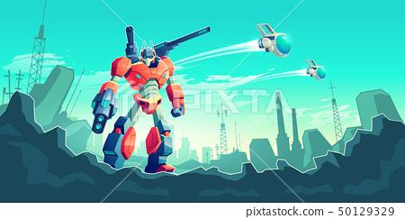 War with alien robots cartoon vector concept 50129329