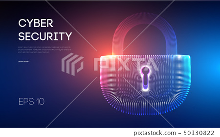 Coputer internet cyber security background. Cyber crime vector illustration. digital lock vector 50130822