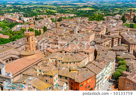 Aerial view of the cityscape of hilltop town Siena 50133759