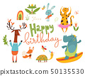 Happy birthday card or poster with happy wild animals.  50135530